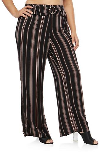 Plus Size Striped Crepe Knit Palazzo Pants,BLACK,large