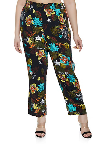 Plus Size Side Stripe Floral Palazzo Pants,OLIVE,large
