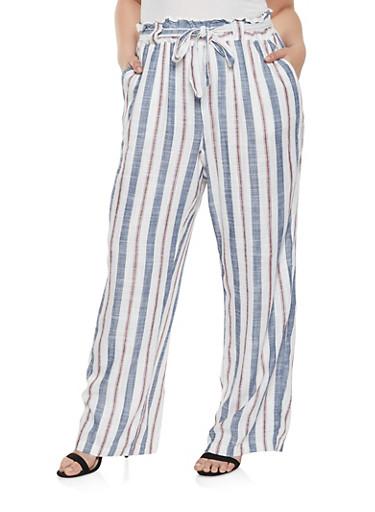 Plus Size Striped Linen Tie Waist Pants,NAVY,large