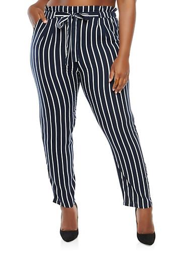 Plus Size Striped Paper Bag Waist Pants,NAVY,large
