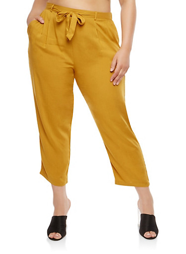 Plus Size Tie Waist Pants,MUSTARD,large