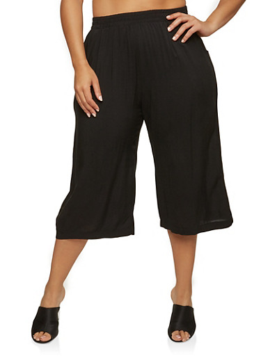 Plus Size Cropped Gaucho Pants,BLACK,large