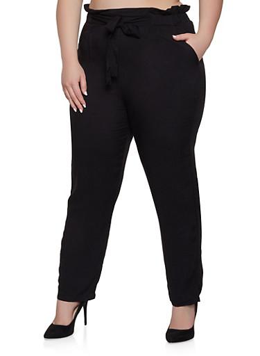 Plus Size Solid Tie Front  Pants,BLACK,large