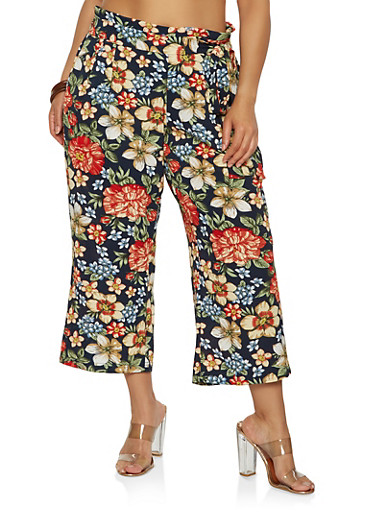 Plus Size Printed Paper Bag Waist Pants | Tuggl