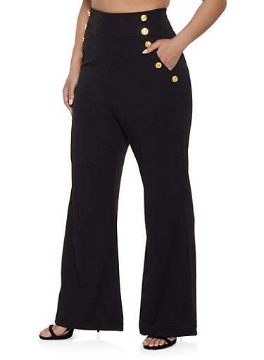 Plus Size High Waisted Sailor Dress Pants,BLACK,large