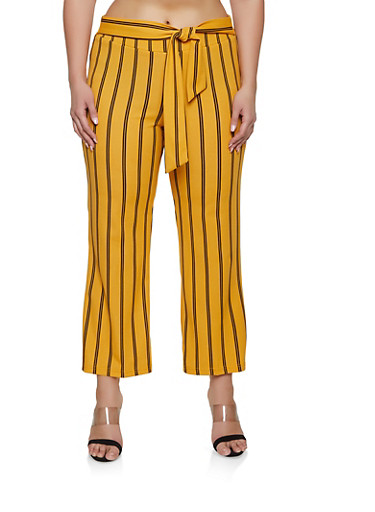 Plus Size Striped Tie Front Pants | 1861056571460,MUSTARD,large