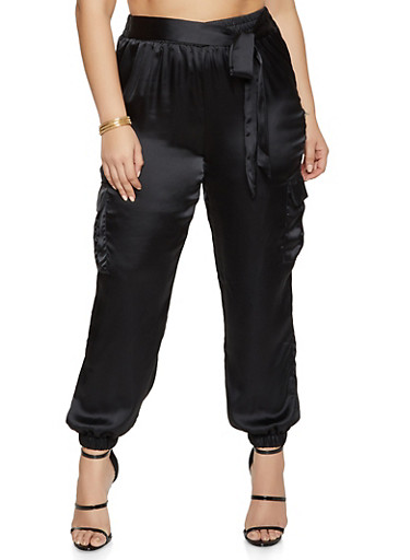 Plus Size Tie Front Satin Cargo Joggers,BLACK,large