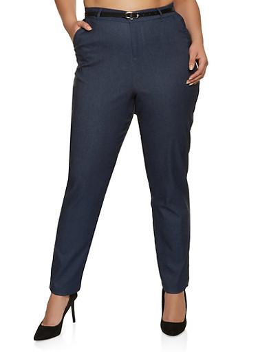 Plus Size Stretch Belted Pants,DENIM,large