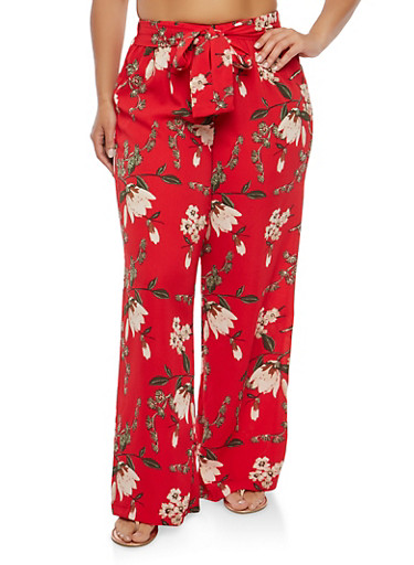 Plus Size Floral Tie Waist Palazzo Pants,RED,large
