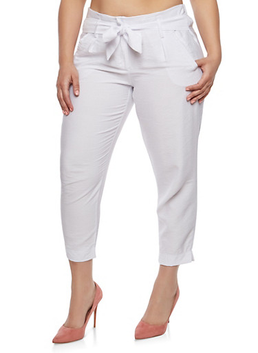 Plus Size Tie Front Linen Pants,WHITE,large