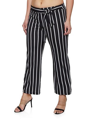 Plus Size Striped Tie Front Pants | 1861056577004,WHITE,large