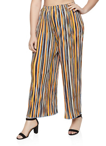 Plus Size Striped Crinkled Palazzo Pants,MUSTARD,large