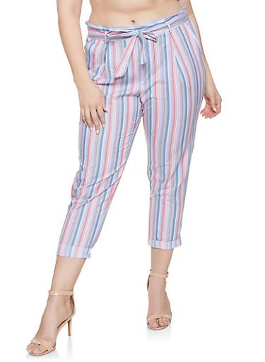 Plus Size Striped Tie Waist Cropped Pants | Blue,BLUE,large