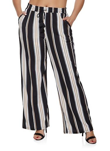 Plus Size Tie Waist Striped Palazzo Pants,BLACK,large
