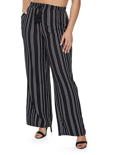 Plus Size Textured Knit Striped Palazzo Pants,BLACK,large