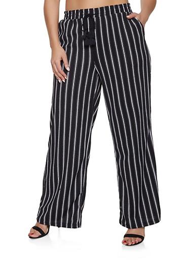 Plus Size Striped Palazzo Pants | Black,BLACK,large