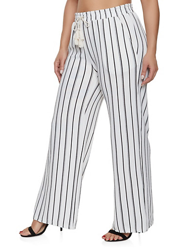 Plus Size Striped Palazzo Pants | White,WHITE,large