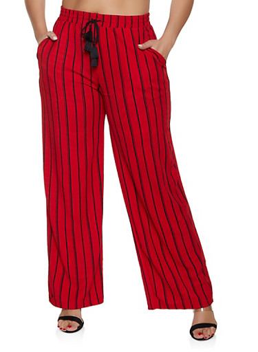 Plus Size Striped Palazzo Pants | Red,RED,large