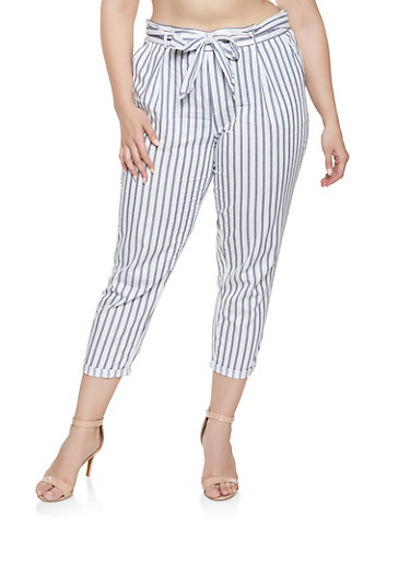 Plus Size Striped Tie Waist Cropped Pants,WHITE,large