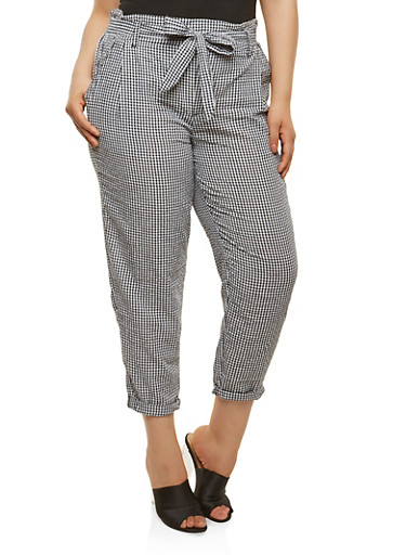 Plus Size Gingham Seersucker Belted Pants,BLACK/WHITE,large