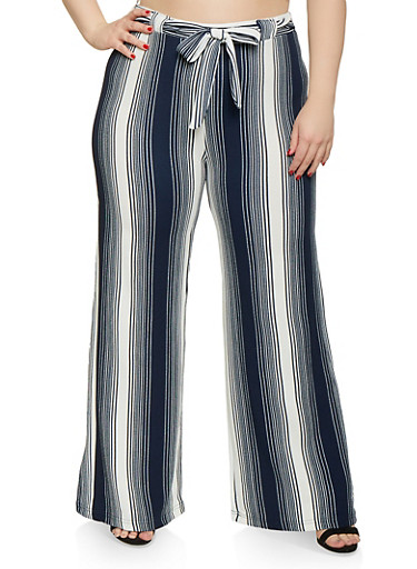 Plus Size Striped Tie Front Palazzo Pants | Navy by Rainbow