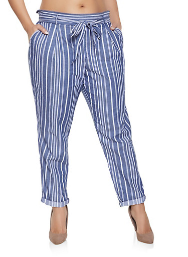 Plus Size Striped Tie Waist Rolled Cuff Pants,BLUE,large