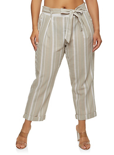 Plus Size Striped Ankle Pants,TAUPE,large