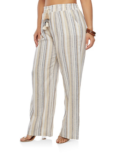 Plus Size Striped Linen Pants | Tuggl