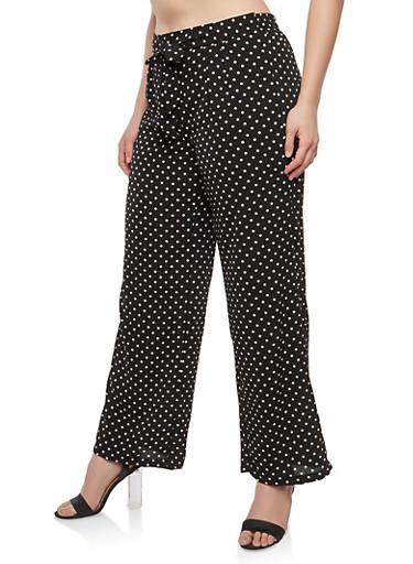 Plus Size Polka Dot Tie Front Palazzo Pants,BLACK,large