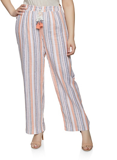 Plus Size Striped Linen Palazzo Pants | 1861060589990,PEACH,large