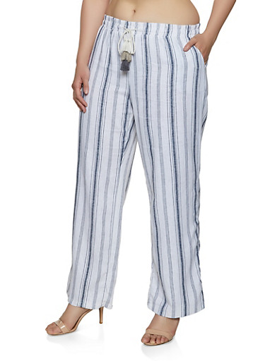 Plus Size Striped Linen Palazzo Pants | 1861060589991,BLUE,large