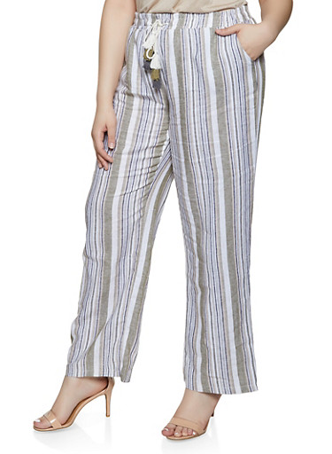 Plus Size Striped Linen Palazzo Pants | 1861060589992,OLIVE,large