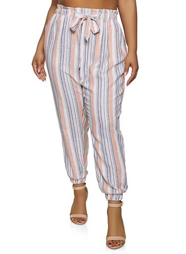 Plus Size Striped Linen Joggers,PEACH,large