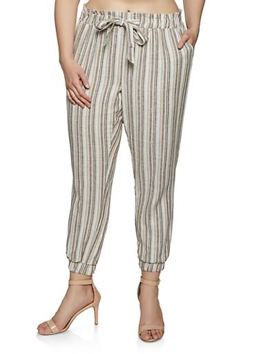 Plus Size Striped Linen Joggers | 1861060589995,BEIGE,large