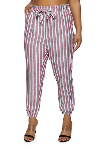 Plus Size Striped Linen Tie Front Joggers,WINE,large