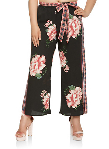 Plus Size Floral Palazzo Pants,BLACK,large