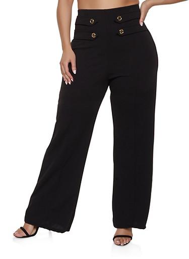 Plus Size High Waisted Sailor Pants,BLACK,large