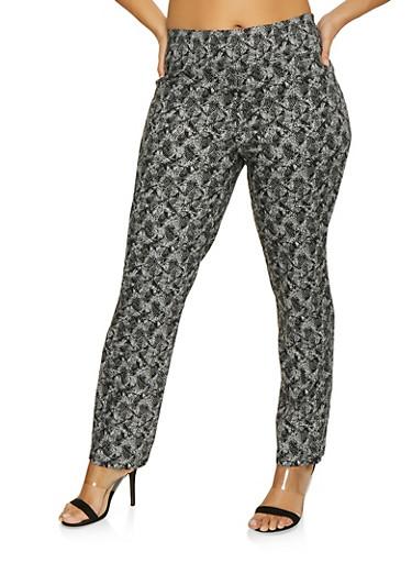 Plus Size Printed Pull On Pants,BLACK/WHITE,large