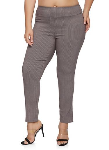 Plus Size Herringbone Print Pull On Pants,BLACK,large