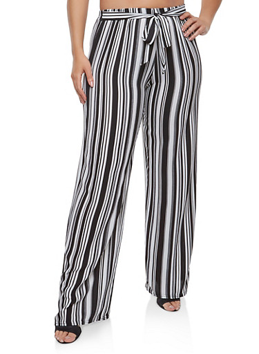 Plus Size Striped Tie Front Palazzo Pants | Tuggl