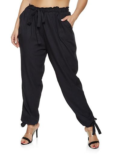 Plus Size Paper Bag Waist Pants,BLACK,large