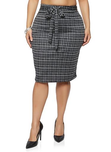 Plus Size Tie Front Plaid Pencil Skirt,GRAY,large
