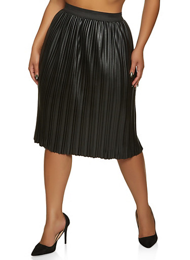 Plus Size Pleated Faux Leather Skirt,BLACK,large