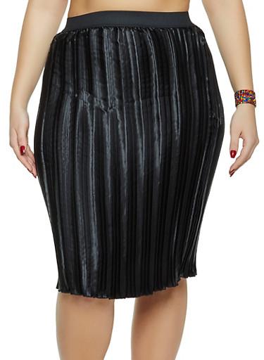 Plus Size Satin Pleated Skirt,BLACK,large
