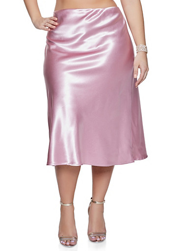Plus Size Solid Satin Skirt,ROSE,large
