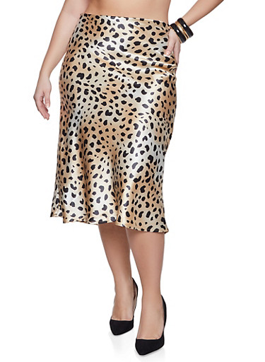 Plus Size Leopard Satin Skirt,TAN,large