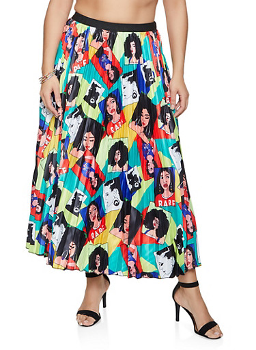 Plus Size Face Graphic Pleated Skirt,YELLOW,large