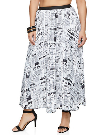 Plus Size Newspaper Print Pleated Skirt,WHT/BLK,large