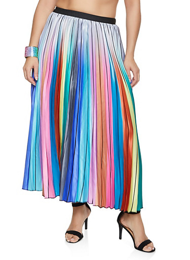 Plus Size Striped Pleated Skirt,SILVER,large