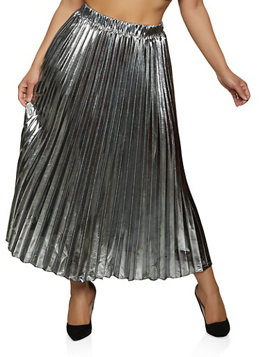 Foil Pleated Maxi Skirt,SILVER,large